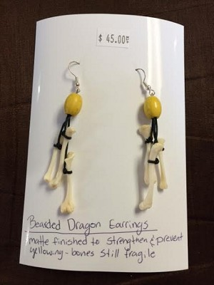 BEARDED DRAGON EARRINGS, leg - real bone